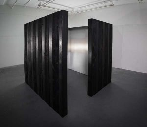 Shou Sugi Ban, charred wood structure, interior paintings, pigment, urthane, aluminum, 84 x 84 x 84 inches, 2015