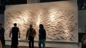 Michael and friend in front of, First Glance,  San Francisco Art market, 2015
