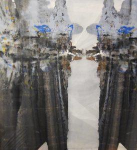 "Melissa Dickenson, Ravine, acrylic and polyethylene films, 96"" x 72"""