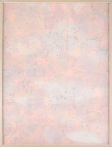 "Pink & Orange Fade Away, 2016, Silk, acrylic on paper mounted to foam board, aluminum and extruded PVC, 48"" x 36"""