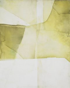 "Eric Blum, Untitled Nº757, ink, silk, and beeswax on panel, 30"" x 24"""