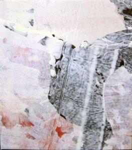 "Melissa Dickenson, Nimbus II, 2016, acrylic and polyethylene films, 20"" x 16"""
