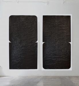 "Sam Still, Untitled (2016.084.74.38.07 + 2016.085.74.38.07), 2016, Burnished Higgin's India Ink on Bark 100% Cotton Paper, 74"" x 38"" each"